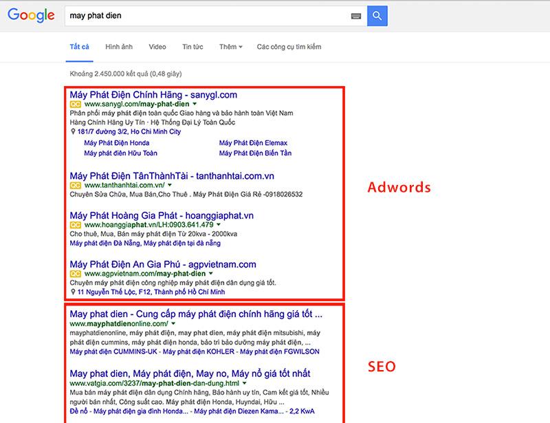 Quảng cáo trả phí Google Adwords