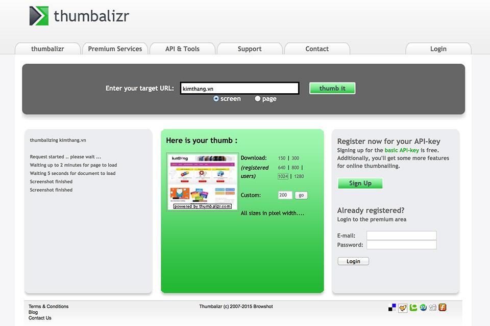 Chụp màn hình website trên Thumbalizr.com