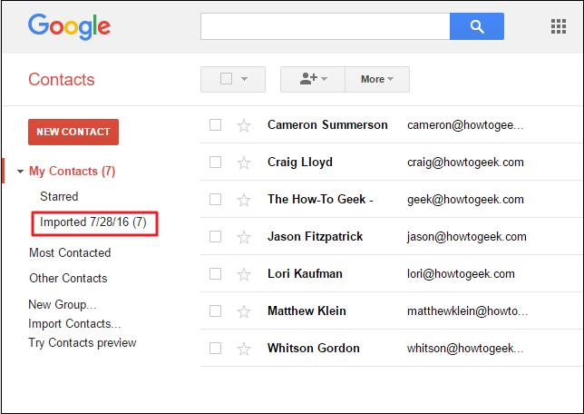 """Danh bạ sẽ được đưa vào """"My Contacts"""" của tài khoản Google thứ 2."""