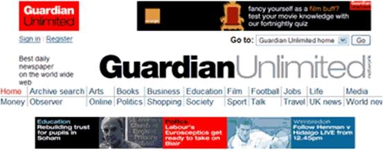 guardian.co.uk dùng quá nhiều khu vực có màu sắc gây sự chú ý.
