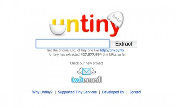 Untiny hỗ trợ tìm ra đường dẫn thật sự của các liên kết rút gọn
