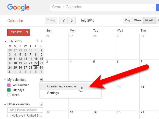 Tạo calendar mới