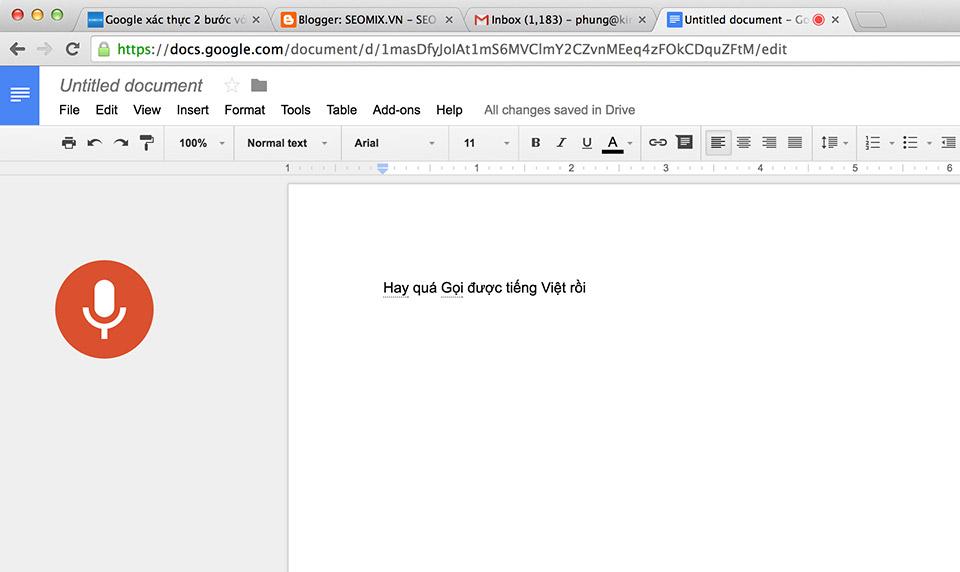 Nhập liệu bằng giọng nói trên Google Docs có hỗ trợ tiếng Việt