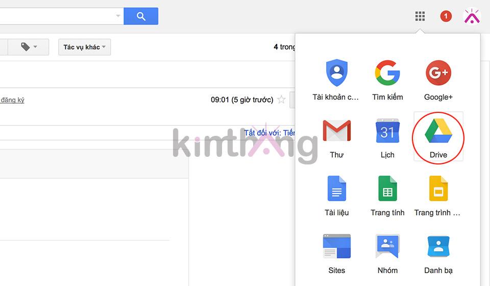 Click chọn Google Apps -> Drive ở cột phải