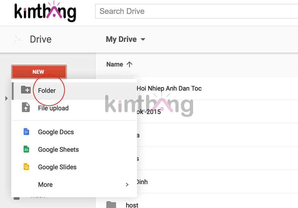 Chọn New -> Folder để tạo thư mục mới