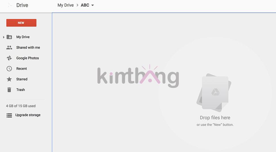 """Kéo file cần gửi vào vị trí """"Drop files here"""""""