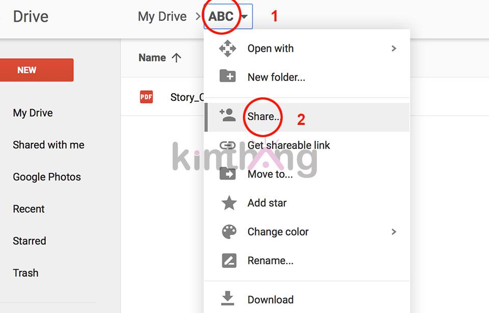 Chọn mũi tên kế bên thư mục mới tạo sau đó chọn Share để chia sẻ file