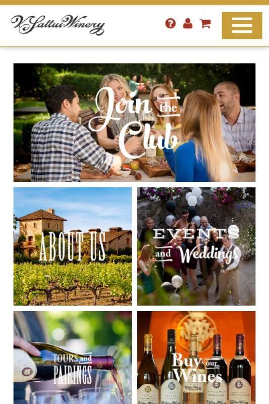 Giao diện website rượu vàng trên mobile