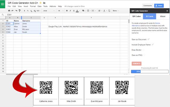 QR Code Generator cho phép bạn tạo QR code từ các giá trị trong Google Sheets.