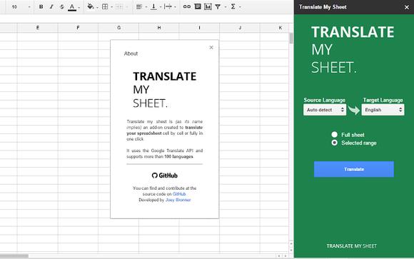 Translate My Sheet có thể dịch một cụm ô trong một bảng biểu gần như ngay lập tức