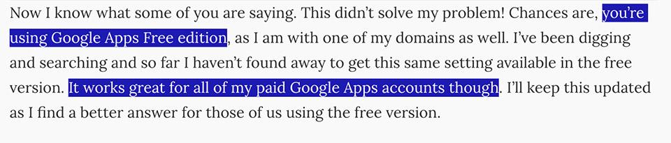 Google Apps bản miễn phí không thể tắt tính năng này nhưng Google Apps có trả phí thì được.