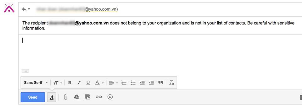 Google cảnh báo khi trả lời email không có trong danh sách liên hệ