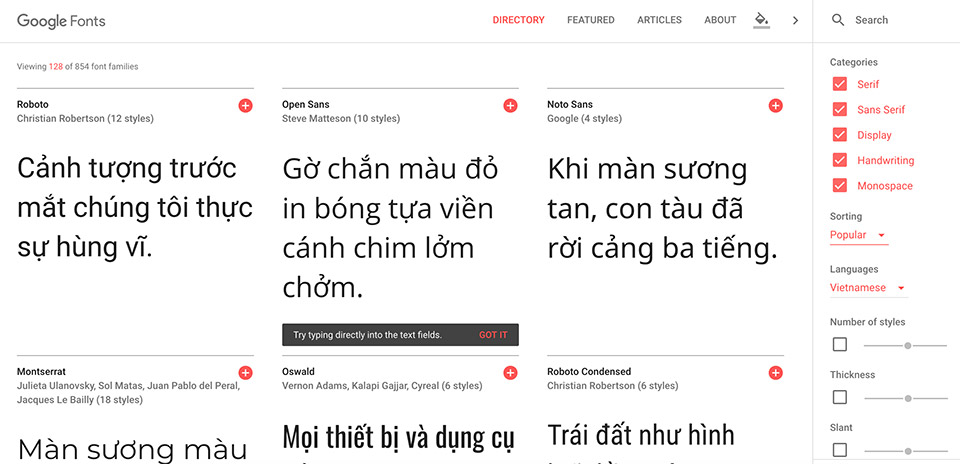 Google Font có khá nhiều font tiếng Việt